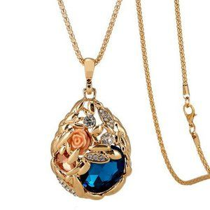Rose Gold Crystal Pendant Chain Necklace Surprise